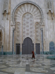 Man going to worship at Casablanca's Hassan II mosque